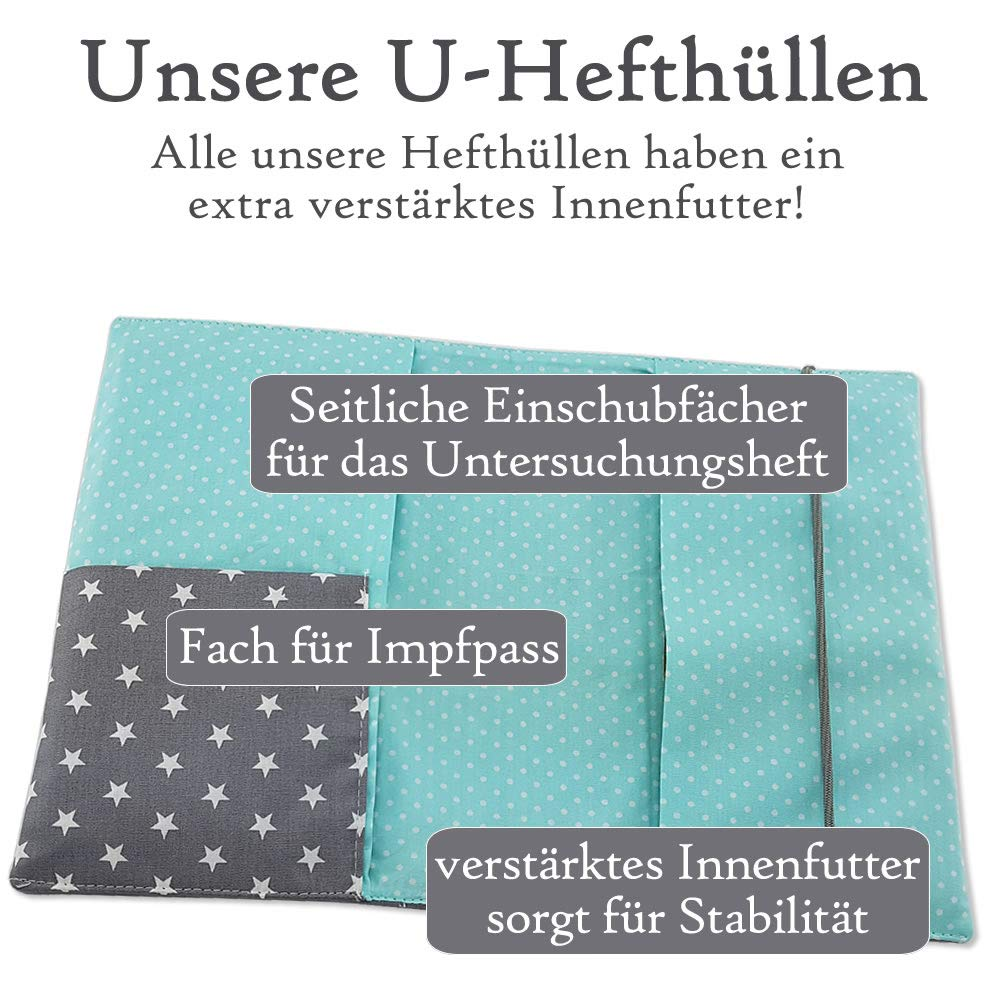 blau U-Heft-H/ülle gr/ün rot blau mint ❤ SmukkeDesign NEU Farben
