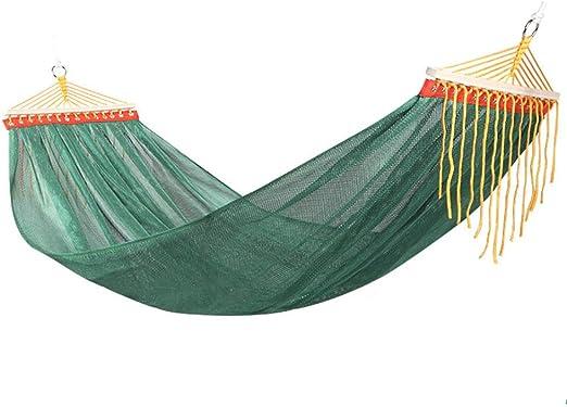 RSdfjLfjd Fuerza Gente Alta Doble Malla Hamacas Al Aire Libre/jardín Camping Ocio portátil Playa Swing Cama Colgante del árbol de Hamaca suspendida-Verde 190x150cm(75x59inch): Amazon.es: Jardín