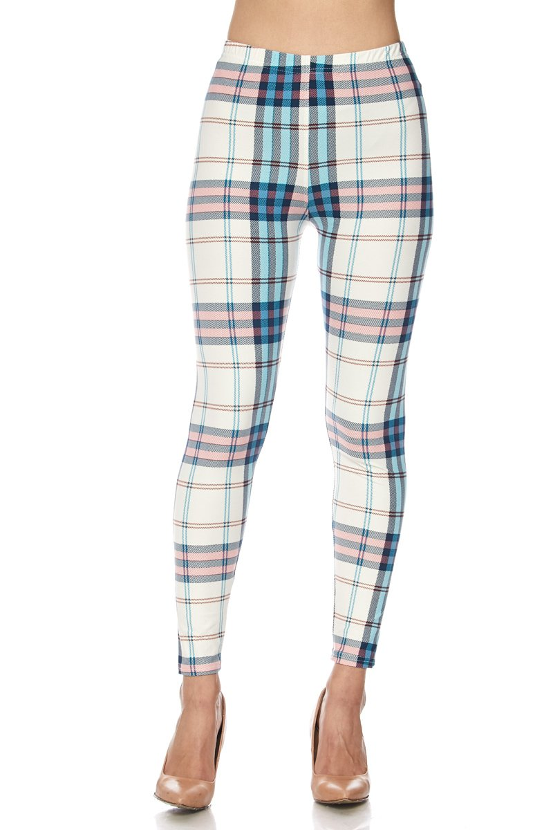 PALI USA Printed Brushed Buttery Soft Leggings Regular and Plus (Mint Plaid, One Size(0-12))