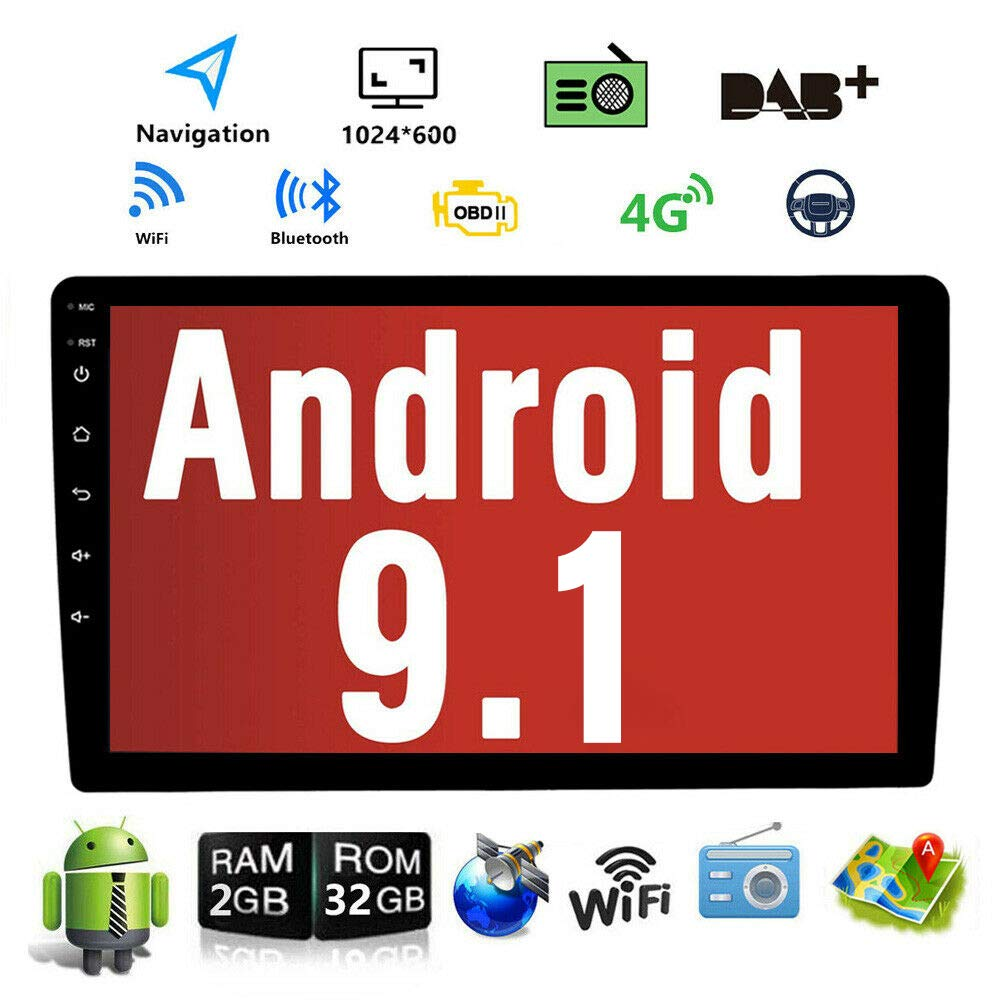 Android 9.1 10.1 Inch Touch Screen 2Din Car Multimedia Radio GPS Navigation in-Dash Car Stereo MP5 Player Autoradio with WiFi Bluetooth USB OBD (2G RAM+16G ROM) by Binize
