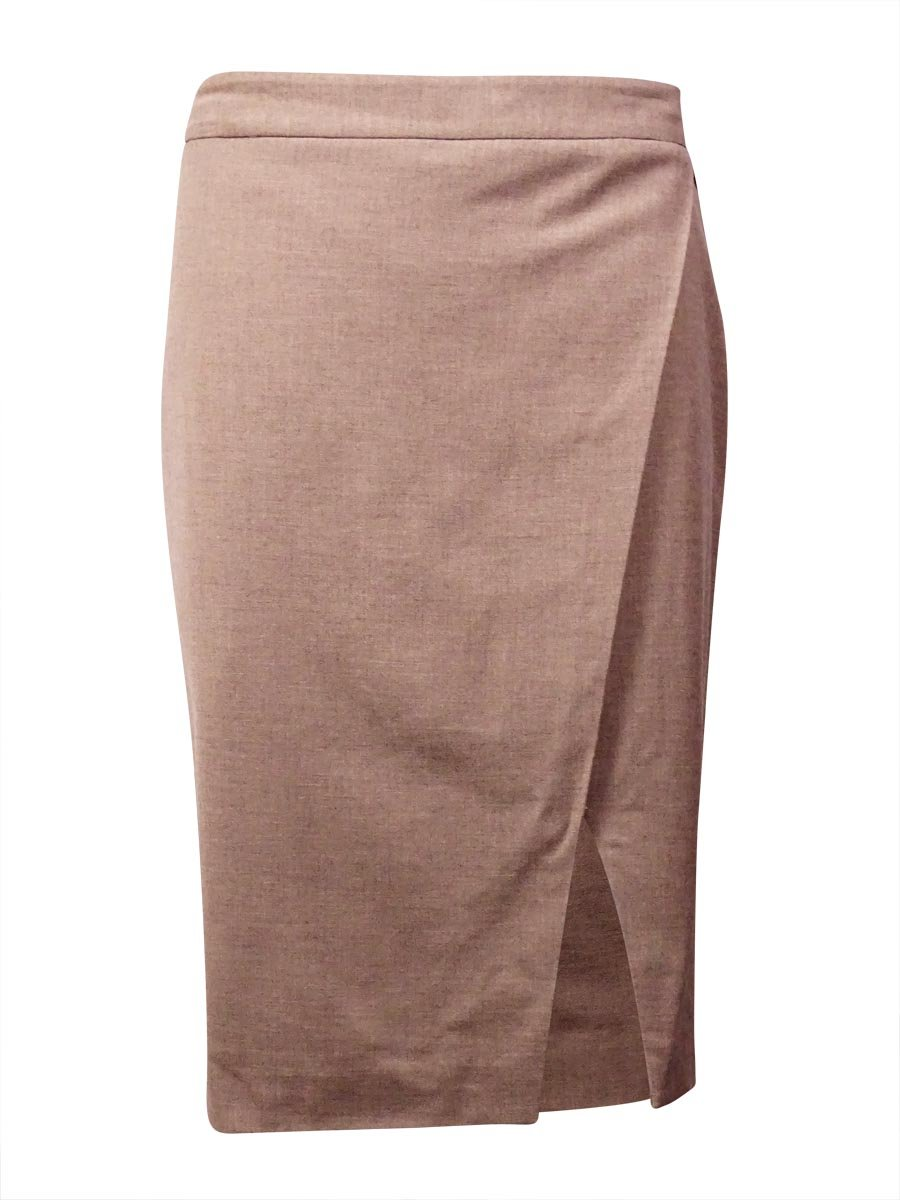 Lauren Ralph Lauren Womens Wool Heathered Pencil Skirt Taupe 6