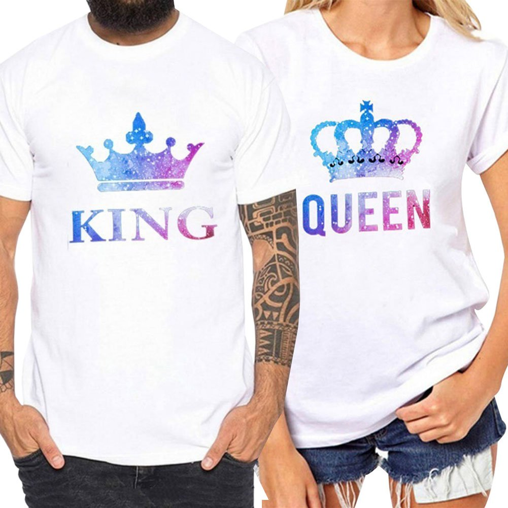 Bangerdei King and Queen Couples T-Shirts Anniversary Newlywed Matching Set Tops Valentines Gifts White 01 Women Queen M + Men King M