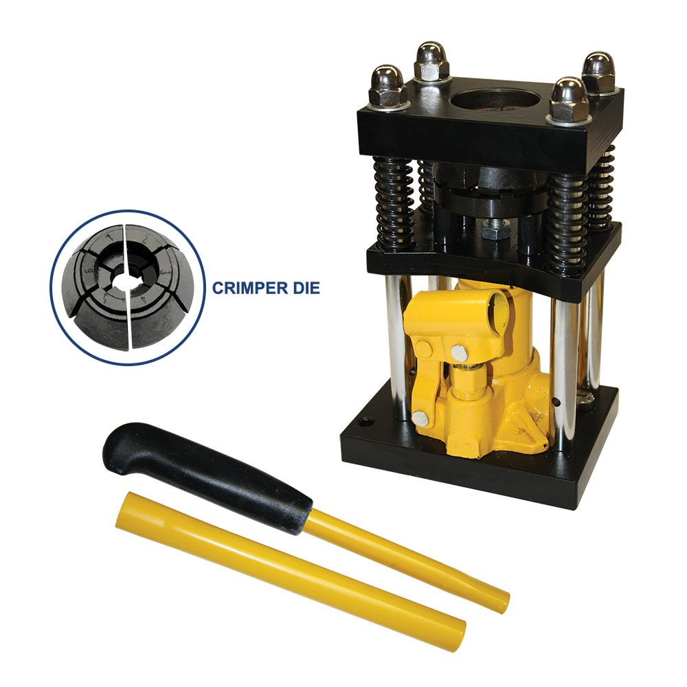 Interstate Pneumatics H10-4 Manual Benchtop Hydraulic jack air hose crimper - 1/4'' to 5/16''