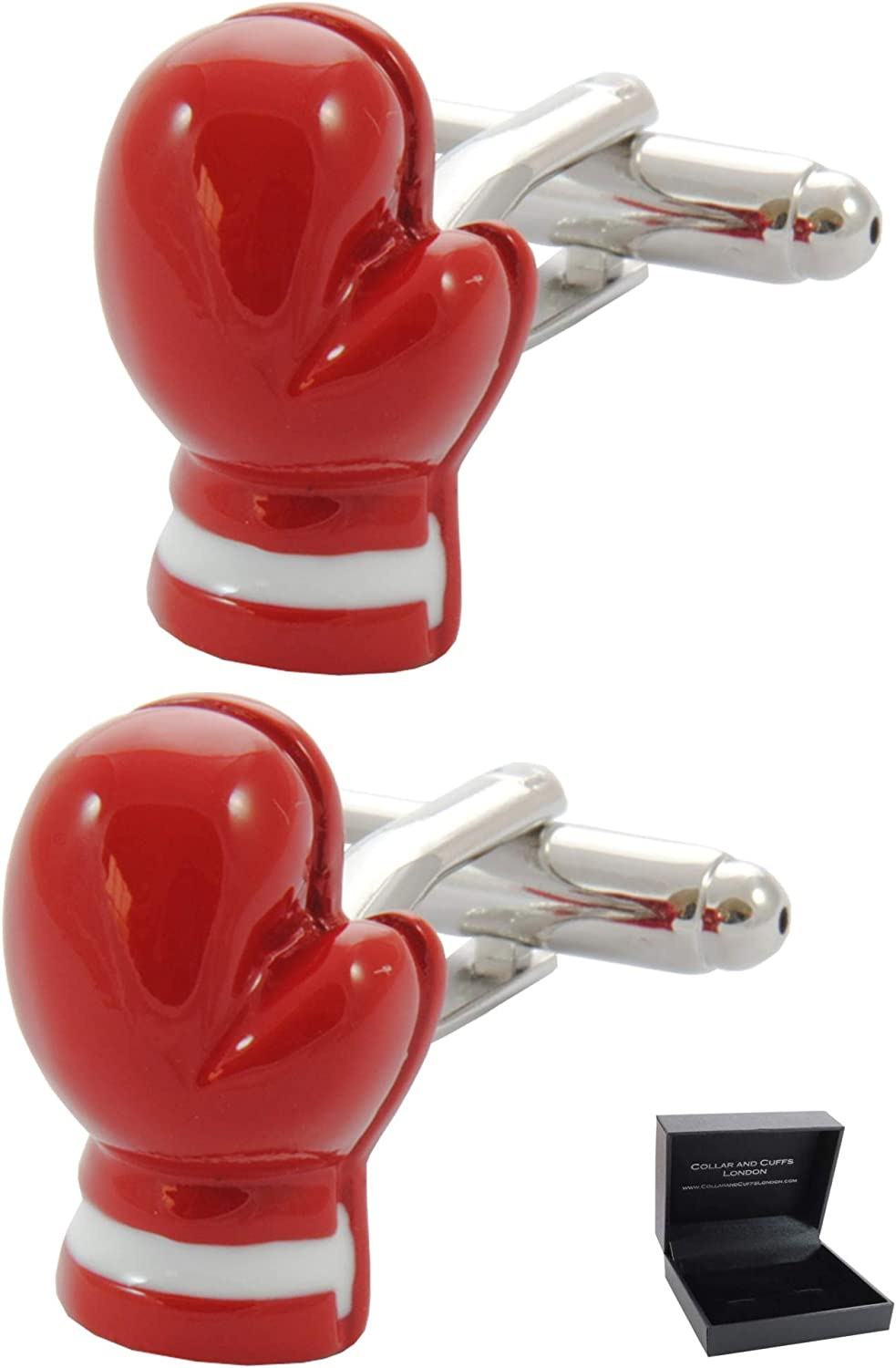 COLLAR AND CUFFS LONDON - Premium Cufflinks with Gift Box - Boxing Glove - Sport Ring Fight Referee Punch - Red Color