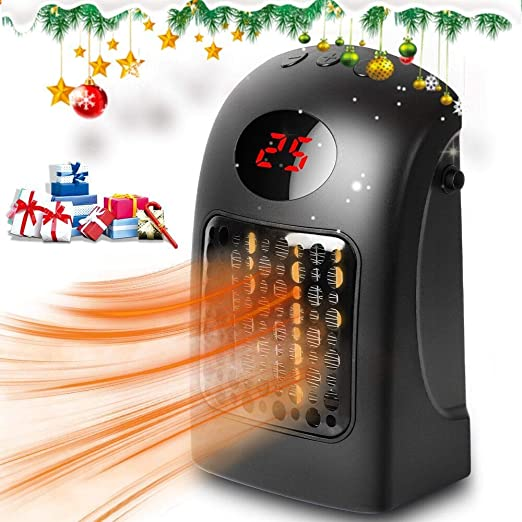 Fan Heater Ceramic Space Heater With Adjustable Thermostat,Electric Mini Personal Portable Heater Fan With Over-Heat Protection 900W Table Heater with LED Display Timer for Home Office
