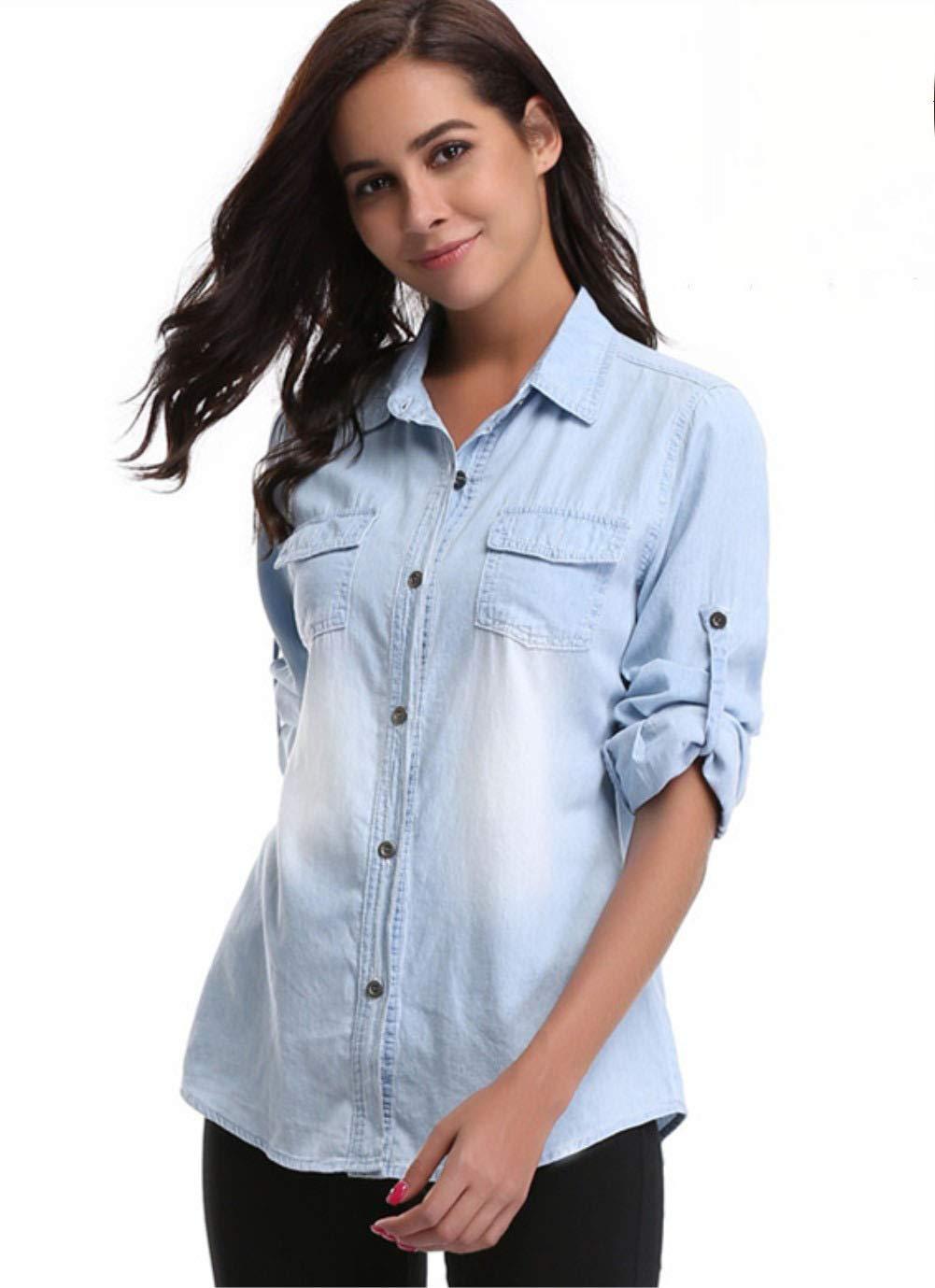 e9648a471c18 Chambray Shirt Women Denim Tops Lightweight Button Down Long Sleeve Jean  Shirt