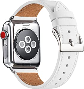 Bestig Band Compatible for Apple Watch 38mm 40mm 42mm 44mm, Genuine Leather Replacement Strap for iWatch Series 6 SE 5 4 3 2 1, Sports & Edition (White Band+Silver Adapter, 42mm 44mm)
