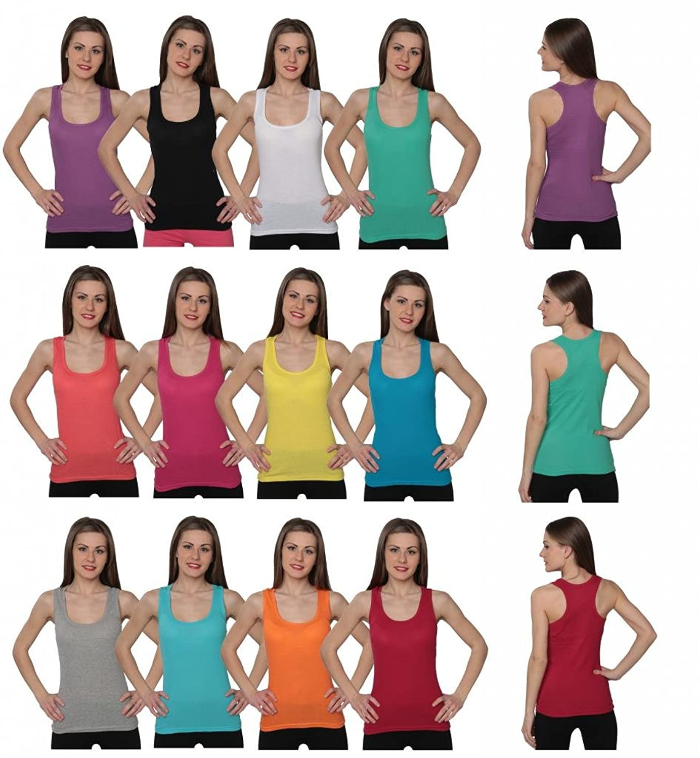 Beverly Rock 100% Cotton Womens Ribbed Racerback Tank Tops (Pack Of 12 Or 6 Or1)