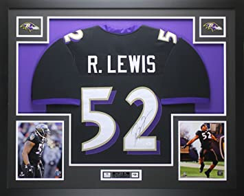Ray Lewis Autographed Black Jersey - Beautifully Matted and Framed - Hand Signed By Ray Lewis and Certified Authentic by JSA COA - Includes ...