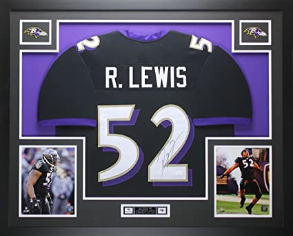 b4ea79a4 Ray Lewis Autographed Black Ravens Jersey - Beautifully Matted and Framed -  Hand Signed By Ray