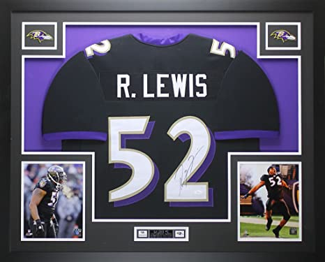 Ray Lewis Autographed Black Ravens Jersey - Beautifully Matted and Framed -  Hand Signed By Ray 3f9ff921e