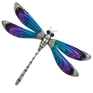 "Dragonfly Wall Decor – 3D Metal Design - Hand Painted in Bright Colors - Large Size – 19 ½"" x 14 ½"" – Nature Inspired Home Decoration - Indoor or Outdoor Décor - Wall Art Hanging"
