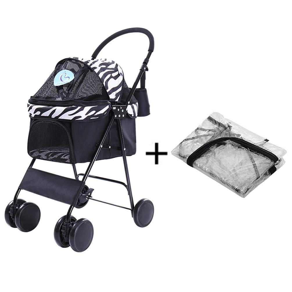 Black and white. Dog Pushchair, Rain & Wind Cover Stroller Pram Carrier Cat Pet 4 Wheels Travel Trolley Puppy Jogger for Foldable (color   Black and White.)