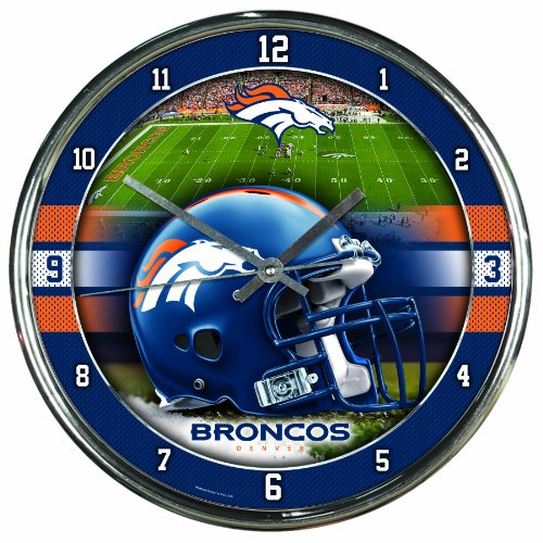 Nfl Football Team Chrome Wall Clock , Denver Broncos , - In Mall Denver Stores