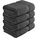 Utopia Towels 700 GSM Premium Bath Towels - 4 Pack Towel Set - (27x54 Bath Towels) - 100% Ring-Spun Cotton Towels for Home, Hotel and Spa (Dark Grey)