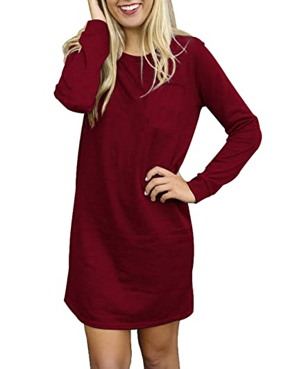 20fddc9d49ce SUNNYME Women s Long Sleeve Mini Dresses T-Shirts Loose Fit Pullover Tunic  Tops Wine Red