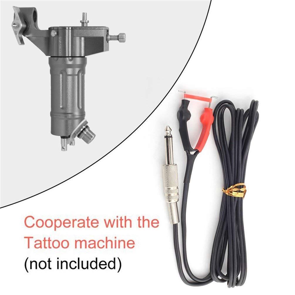 Negro Queenaal Cable de Clip de Silicona Resistente al Desgaste para Fuente de alimentaci/ón de Ametralladora de Tatuaje 2.4M