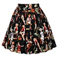 JOAUR Pleated Vintage Circle Skirts for Women Floral Print Skirts with Pockets
