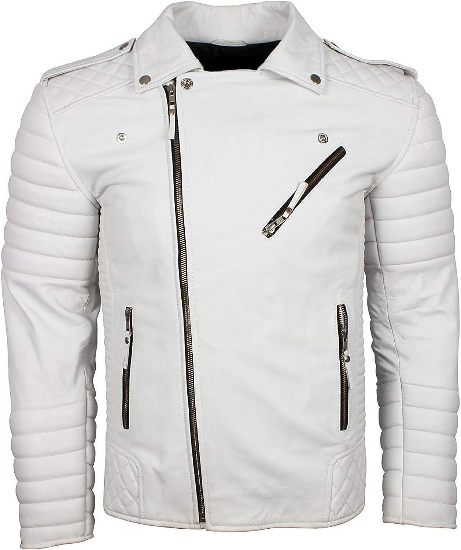 Leather-Spot Men Women Classic Motorcycle Biker Style Genuine Leather White Jacket