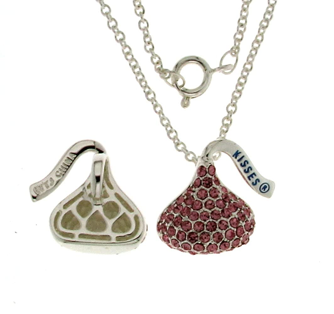 Hershey Kiss Light Pink Charm Pendant With Chain 18 Silver Tone