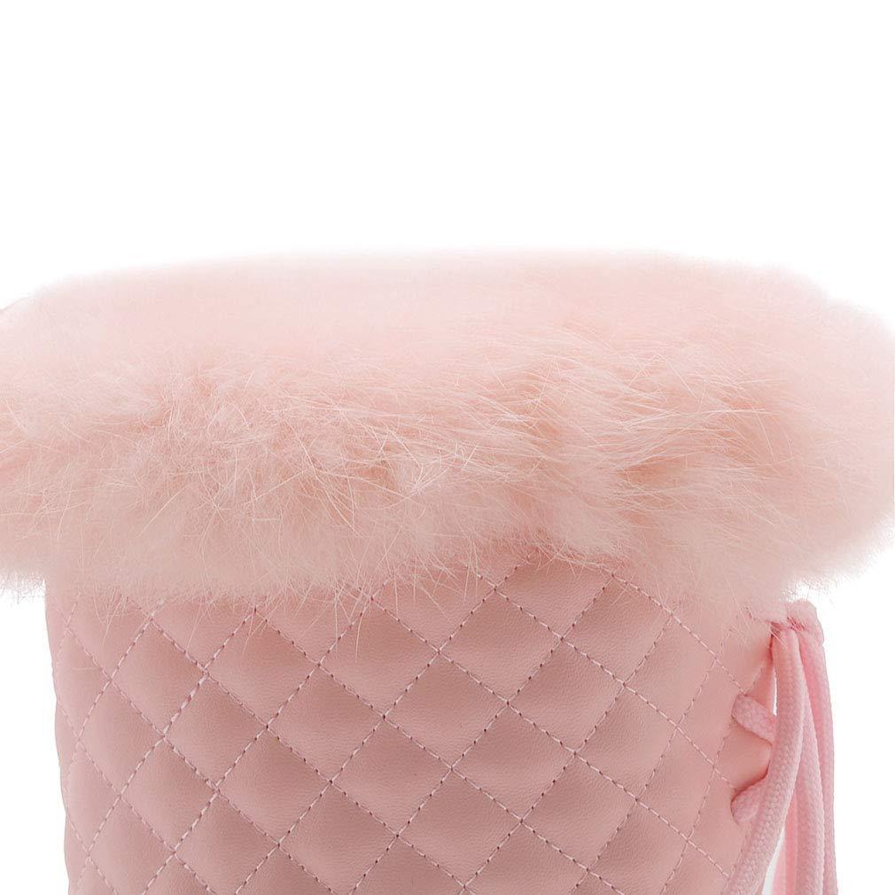 Hy Hy Hy Frauen Stiefel Winter Künstliche PU Dicke Unterseite Warme Schneeschuhe Damen Winter Wasserdicht Schneefest Stiefelies Stiefeletten Weiß Schwarz Rosa (Farbe   Rosa Größe   39) d3a612