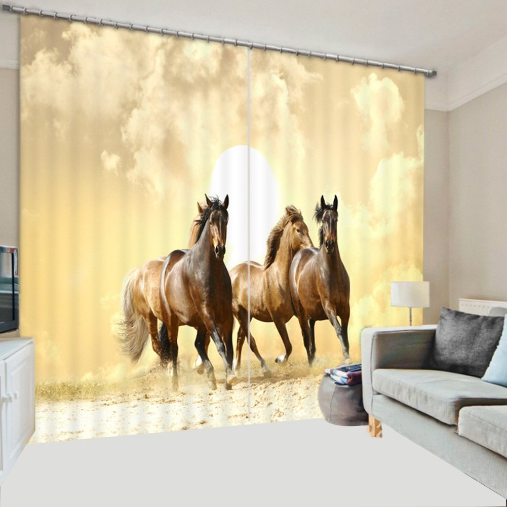 QIANGDA カーテン 窓カーテン 3D馬のパターン 断熱 ブラックアウト ノイズ低減 寝室2つのパネルのセット、 4つのスタイルオプション、 カスタマイズされたサイズ ( 色 : 40センチメートル-24ワット , サイズ さいず : W 3.2m x H 2.7m ) B0791F9S2G W 3.2m x H 2.7m|40センチメートル-24ワット 40センチメートル-24ワット W 3.2m x H 2.7m