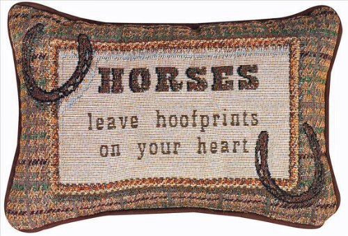 KensingtonRow Home Collection Decorative Pillows - Horses Leave Hoofprints on Your Heart Pillow - Horse - Equestrian Decor