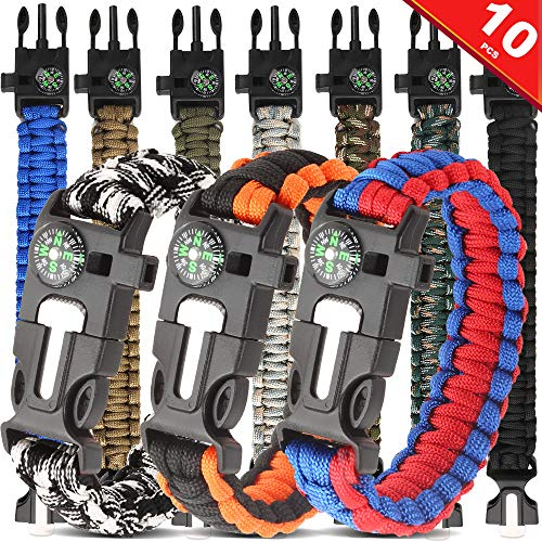 HNYYZL 10 Pack Paracord Bracelet Kit Outdoor Survival Bracelet Camping