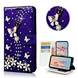 STENES Motorola Droid Turbo 2 Case - Stylish - 3D Handmade Bling Crystal S-Link Butterfly Floral Wallet Credit Card Slots Fold Media Stand Leather Cover Case - Dark Purple