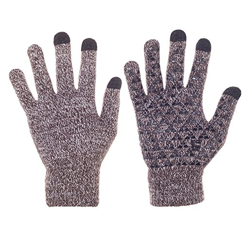 Knit Winter Gloves, Windproof Sport Touchscreen Gloves For Men And Women( Brown...