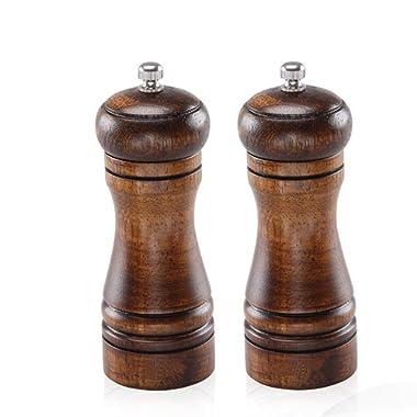 Spice Grinder Wooden Salt and Pepper Grinders Set Pepper Ceramic Salt Grinder and Mills with Adjustable ceramic grinding Core Oak Wood(Set of 2)