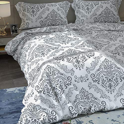 Home Beyond 3 Piece Duvet Cover Set, 1 Printed Zipper Closure Duvet Cover with 2 Pillow Shams, Ultra Soft Brushed Microfiber, Queen or Full or Double Size, Grey Printed Pattern