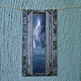 SOCOMIMI Towel Bar Decor Lightning Bolt at Night from Window in A Seaside House Forces of Multipurpose Quick Drying