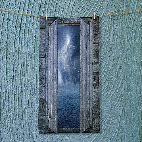 SOCOMIMI Towel Bar Decor Lightning Bolt at Night from Window in A Seaside House Forces of Multipurpose Quick Drying by SOCOMIMI