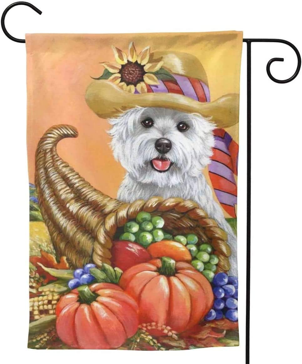 808 Thanksgiving Pumpkin Westie Dog Xute Small Garden Flag Vertical Double Sided 12.5 X 18 Inch Floral Farmhouse Yard Outdoor