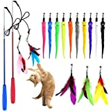 Cat Wand, (17 Packs) Retractable Cat Feather Toys and Replacement Refills with Bells, Interactive Cat Toys for Cat Exercise