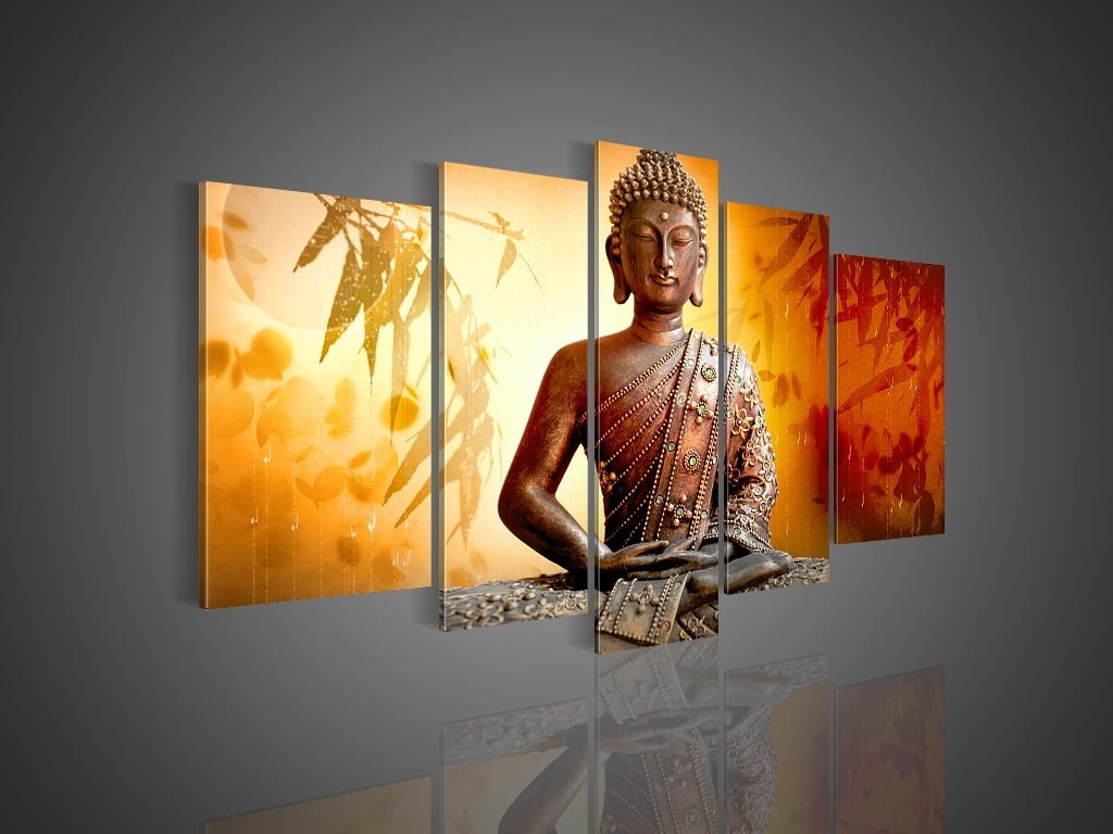 Amazon.com: 5 pieces Handmade Buddha Art Canvas Oil Painting Ready ...