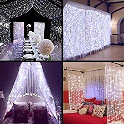 ZSTBT DM-300LW/2 Linkable 304LED 9.84ft Window Curtain Icicle Fairy Lights for Party Wedding Home Patio Lawn Garden, White