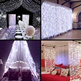 ZSTBT Linkable 304LED 9.84ft9.84ft/3m3m Window Curtain Lights Icicle Fairy Lights for Party Wedding Home Patio Lawn Garden (White)