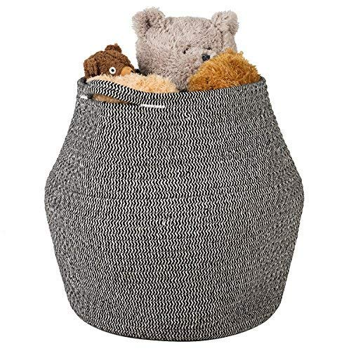 Goodpick Cotton Rope Storage Basket Woven Baby Laundry Basket for Storage, Plant Pot, Beach Bag, and Kids' Toys Home Decor Blanket Basket Planter Basket,16.1'' × 14.9 ''× 11.8''