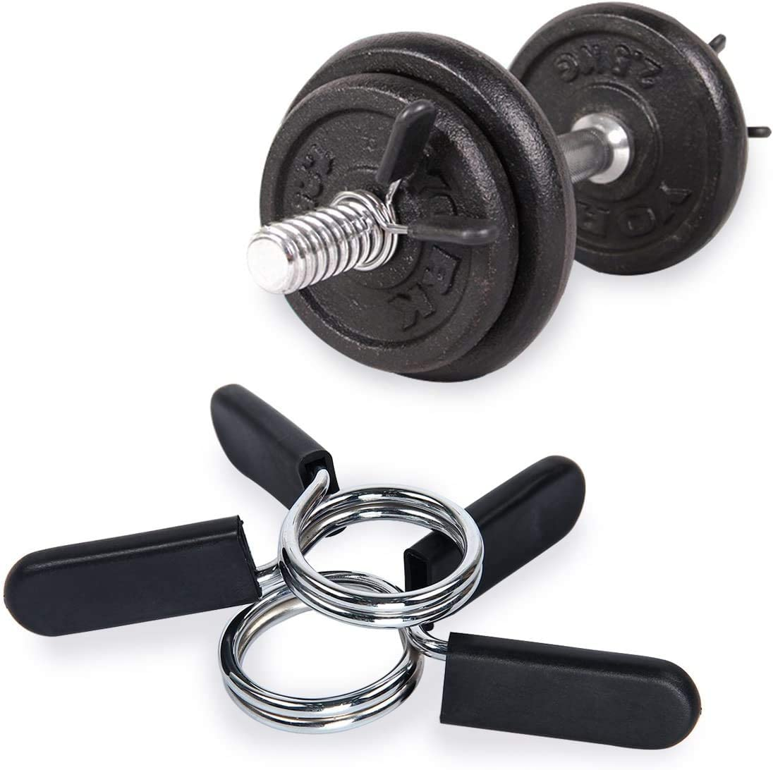 ATINUS Barbell Clamps Dumbbell Spring Collars Locking Collars Clips for Weightlifting Exercise Fitness Accessory Training Supplies