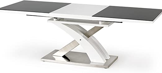 Sellon - Mesa de comedor exclusiva de acero inoxidable y cristal ...