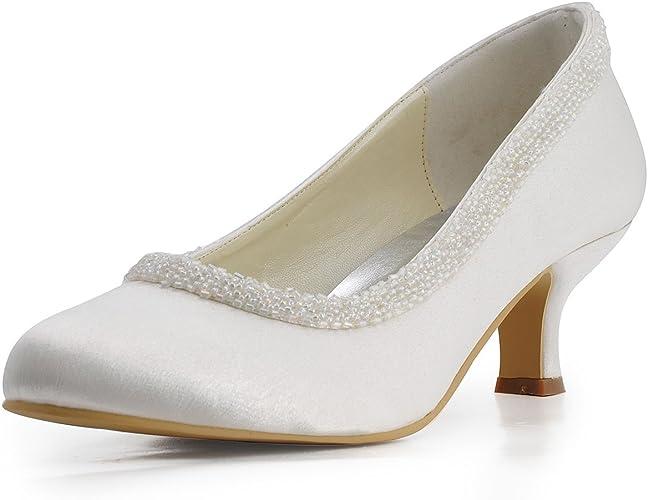 Bridal Women's Pumps ElegantPark Wedding Party Satin Round Beading Heels Shoes Spool Toe 005CC EL EbDYeH9W2I