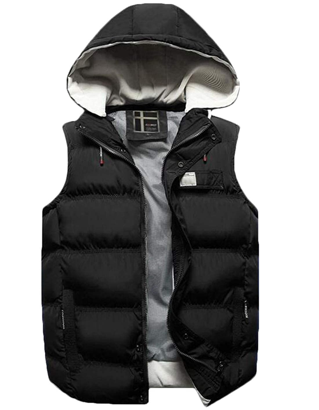 Domple Mens Sleeveless Padded Quilted Outwear Active Gilet Hooded Jacket Thicken Vest
