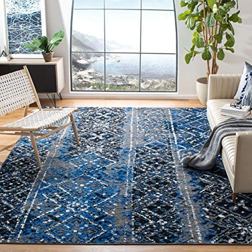 Safavieh Adirondack Collection ADR111G Silver and Multi Contemporary Bohemian Distressed Area Rug 6' x 9'