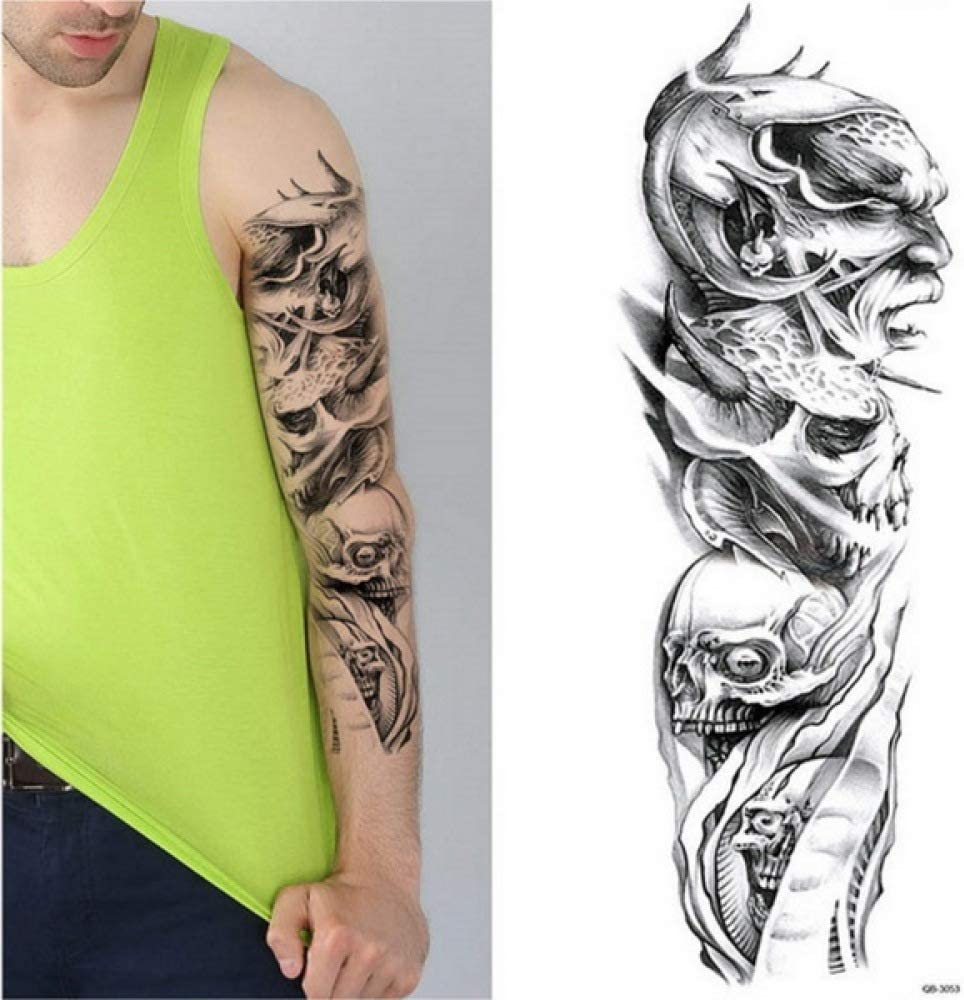 adgkitb 2 Piezas 48 cm de Largo Completo Flor Brazo Tatuaje ...