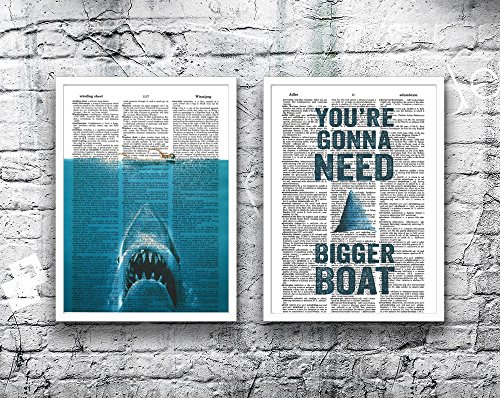 Jaws movie poster Great White Shark iconic movie quote set o