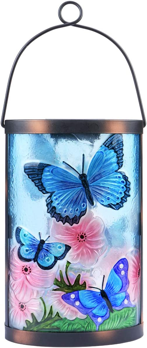 Hanging Solar Lantern Outdoor Decorative Waterproof LED Solar Butterfly Lights Tabletop Lamp for Outdoor Patio Garden(Blue)