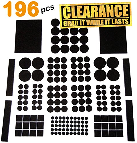 HLCO Premium Adhesive Felt Furniture Protector Pads (196 Pieces, Brown) | Variety Pack Fits All Chair Feet with Noise Dampening Feature | Best Guards against Scratches on Hardwood, Laminate, and Tile (Laminate Tiles)