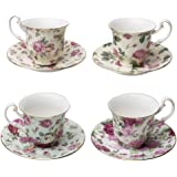 Gracie China Rose Chintz Porcelain Petite 3-Ounce Espresso/Demitasse Cup and Saucer with Gold Trim Set of 4